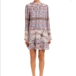 Parker bell sleeve shift dress, graphic design.